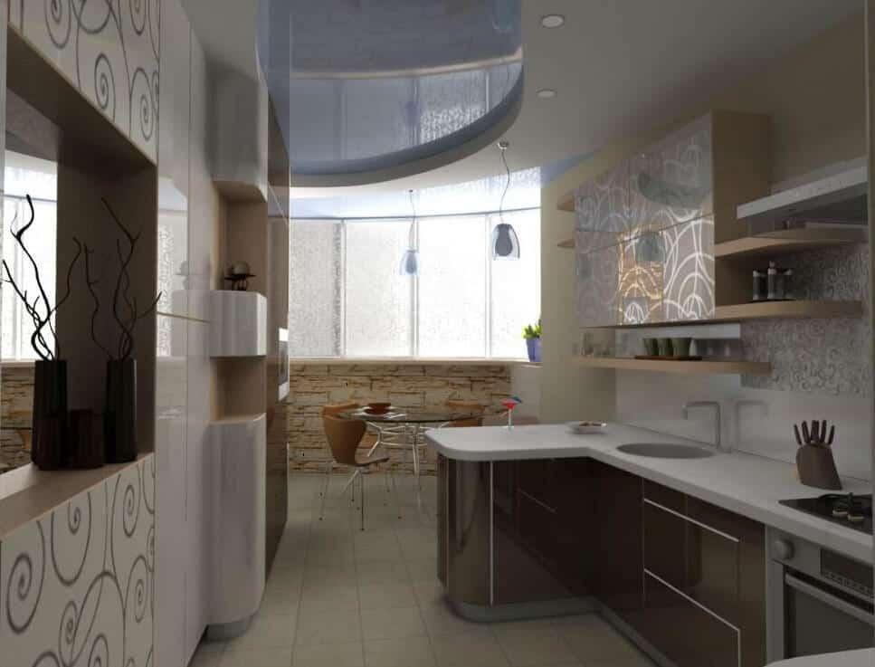 Интерьер кухонь под потолок