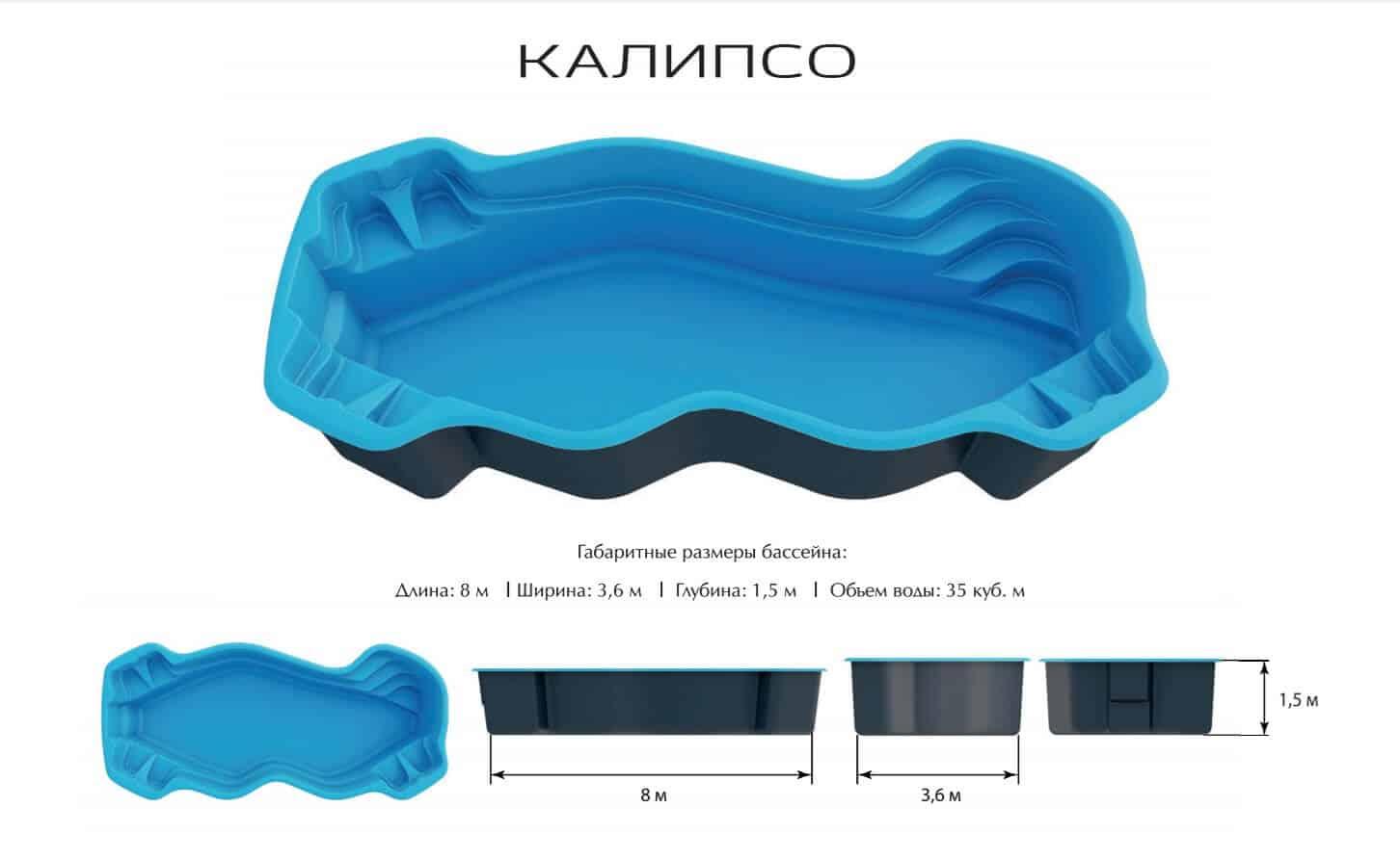 Композитный бассейн Калипсо PREMIUM